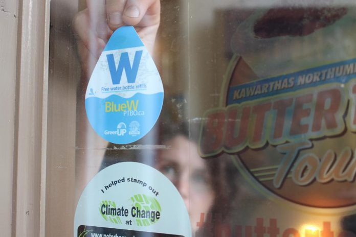Thanks to funding from Peterborough Utilities, you can look for BlueWPtbo window decals on local businesses and community buildings where fresh and clean tap water can be accessed for free, so that you can refill your reusable bottle when you're out and about. (Photo courtesy of GreenUP)