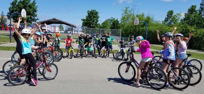 A group of students from St. Anne  Catholic Elementary School have been participating in Pedal Power this spring, along with 200 more Peterborough students who are enrolled in the cycling skills program this year. (Photo: Jaime Akiyama)