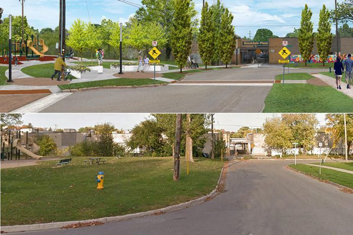 The top image is a 3D rendering of Dominion Park in the Jackson Park Brookdale Neighbourhood featuring residents' vision for enhancement such as more lighting, places to rest, shade, and accessible access to the park. The bottom image is a photo of the same area from Google Maps.