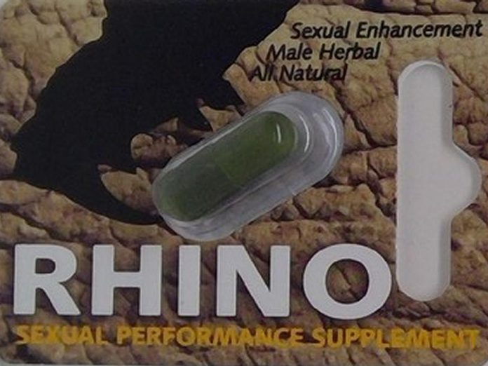 Rhino, one of several sexual enhancement supplements sold by Forbidden Pleasures in Peterborough that have been seized by Health Canada. Products with similar packaging were tested and found to contain aminotadalafil, a prescription drug used to treat erectile dysfunction. (Photo: CNW Group / Health Canada)