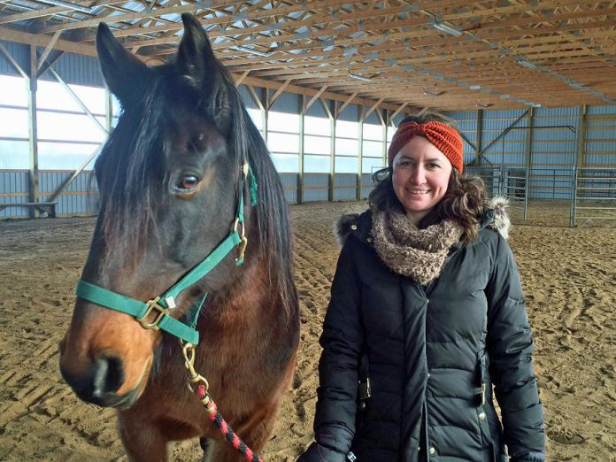 Kawartha Sexual Assault Centre social worker Katie McKeiver, part of the team behind Building Internal Resilience Through Horses, with Sebastian of The Mane Intent. (Photo: The Mane Intent)