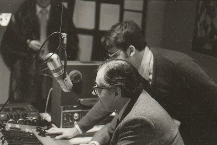 John Muir (right) with Thomas HB Symons, founding president of Trent University, when Trent Radio moved to Lady Eaton College in 1979. (Photo: Trent Radio)