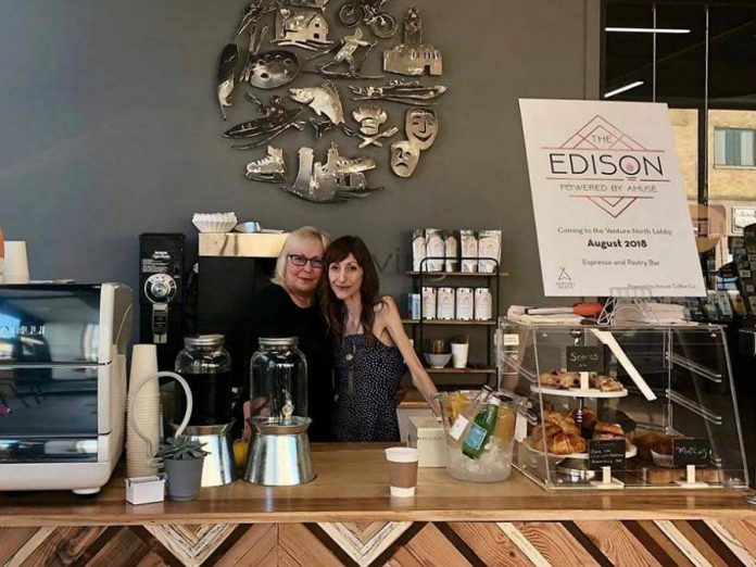 The Edison Espresso and Pastry Bar, located in the lobby of the VentureNorth building in downtown Peterborough is now the main focus for food entrepreneur Lindsay Brock (right). She opened The Edison in August 2018 and demand from tenants in the building as well as neighbouring buildings has continued to grow. (Photo: The Edison Espresso and Pastry Bar)