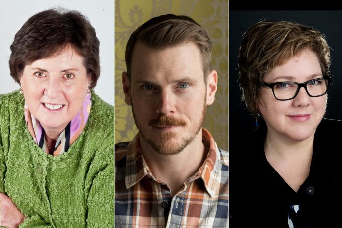 Local fiction writers Jane Bow, Andrew Forbes, and Laura Rock Gaughan will be reading from their recently published books at the free Local Authors' Tent in Cenotaph Park at the Lakefield Literary Festival on Saturday, July 13, 2019. (Supplied photos)