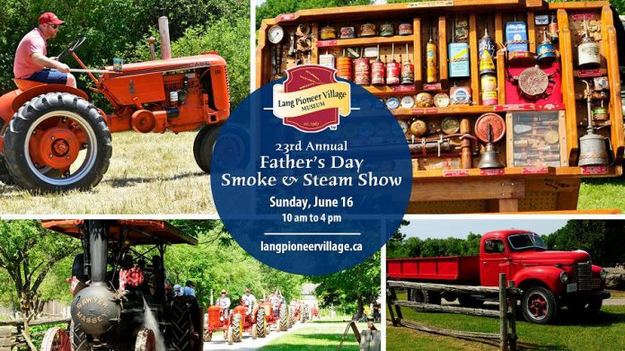 There's lots to see and do for dad and the entire family at the 23rd annual Father's Day Smoke & Steam Show at Lang Pioneer Village in Keene on June 16, 2019.  (Graphic courtesy of Lang Pioneer Village Museum / Facebook)