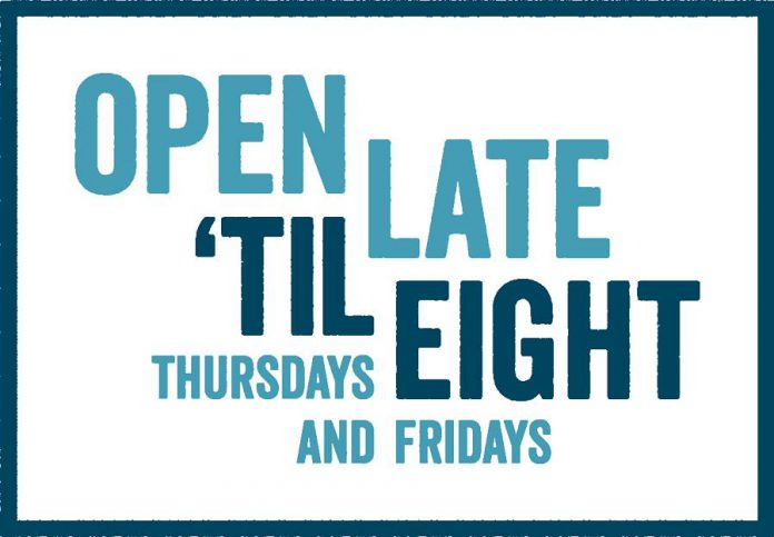 "Look for the ""Open Late 'Til Eight"" sticker in the window of your favourite downtown Peterborough retailer. (Graphic courtesy of Peterborough DBIA)"