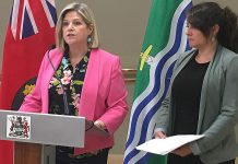Ontario NDP Leader Andrea Horwath was joined by Peterborough Mayor Diane Therrien on Monday morning (June 10) as she took questions from the media, following a 30-minute private discussion between the two politicians about the growing opioid crisis in the City of Peterborough that has seen an alarming increase in overdoses this year. (Photo: Paul Rellinger / kawarthaNOW)