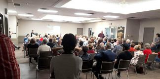 A public meeting regarding the alarming increase in opioid-related deaths and overdoses in Peterborough drew a large crowd on June 12, 2019 at the Lions' Community Centre. Whitepath Consulting and Counselling Services owner Peggy Shaughnessy, PARN (Peterborough AIDS Resource Network) executive director Kim Dolan, and Peterborough Deputy Police Chief Tim Farquharson spoke at the meeting. (Photo: Brock Grills / Facebook)
