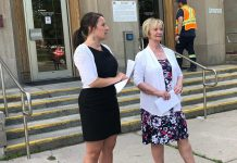 Peterborough Mayor Diane Therrien and Selwyn Deputy Mayor Sherry Senis at Peterborough City Hall on June 18, 2019 announcing the panellists for the upcoming forum on Peterborough's opioid crisis, to be held at the Market Hall in downtown Peterborough on July 11, 2019. (Photo: @MayorPtbo / Twitter)