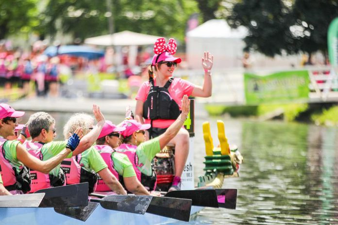 The 19th annual Peterborough's Dragon Boat Festival takes place on Saturday, June 8, 2019 at Del Crary Park in downtown Peterborough. Community, junior, competitive, and breast cancer survivor teams will join together for a fun and exciting day of dragon boat racing on Little Lake to raise funds for state-of-the-art cancer technology at Peterborough Regional Health Centre. (Photo: Linda McIlwain / kawarthaNOW.com)