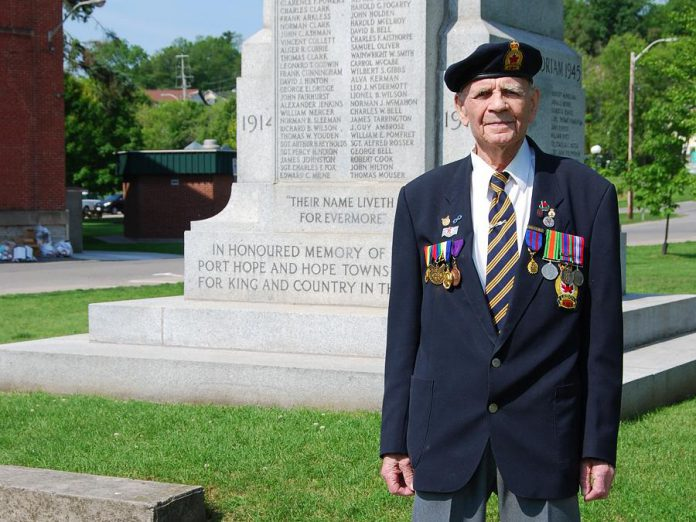 Vetern Wilmer Gagnon attended the announcement of the Avenue of Heroes banner program  at the Memorial Park cenotaph on June 19, 2019. (Photo: April Potter / kawarthaNOW.com)