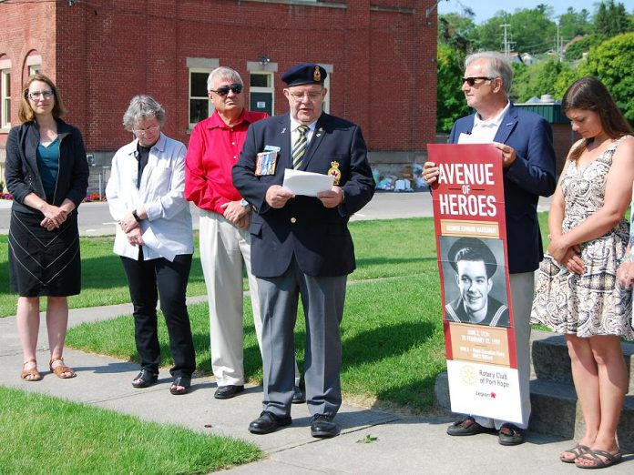 Andre Labrosse, president of Royal Canadian Legion Branch 30, addresses the crowd at the announcement of the Avenue of Heroes banner program at the Memorial Park cenotaph on June 19, 2019. The Rotary of Club of Port Hope and the legion were instrumental in bringing the project to the streets of downtown Port Hope. (Photo: April Potter / kawarthaNOW.com)