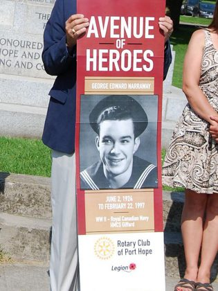A mock-up of the design for the Avenue of Heroes banner. Each banner will include the veteran's photograph, name, date of birth and date of death (if applicable), and service details. (Photo: April Potter / kawarthaNOW.com)
