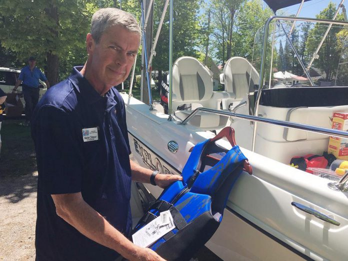 Nick Cliteur, the 49th commander of the Peterborough Power and Sail Squadron, was front and centre on June 7, 2019 at the Marshland Centre in Lakefield as the squadron formally marked its 60th anniversary. A number of past commanders were on hand for the event as the organization celebrated six decades of ensuring on-water safety for vessel operators on waterways throughout Peterborough and the Kawarthas. (Photo: Paul Rellinger / kawarthaNOW)