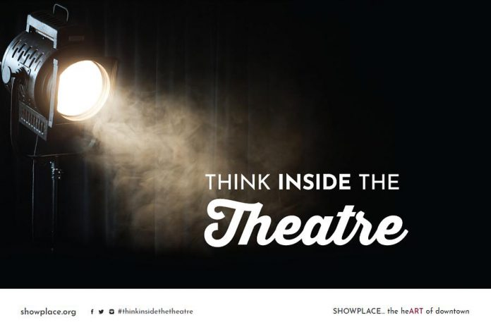 """Showplace Performance Centre's """"Think Inside The Theatre"""" campaign is promoting the not-for-profit organization's three spaces (the Erica Cherney Theatre, the Nexicom Studio, and the main lobby) for rentals. (Graphic courtesy of Showplace Performance Centre)"""