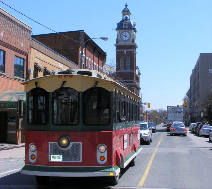 The Town Trolley, owned and operated by Michael Bryant of Dromoland out of Little Britain, returns in 2019 to provide free service from downtown Peterborough to the Peterborough Musicfest concerts at Del Crary Park from 6 to 10 p.m. on Wednesdays and Saturdays between June 29 and August 17 2019. This year, the trolley will also stop at the Memorial Centre parking lot, and will also be available for the Kawartha Craft Beer Festival on June 14 and 15. (Photo courtesy of Michael Bryant)