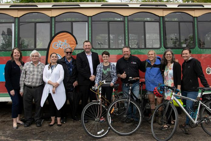 The trolley service is provided by the DBIA with sponsorship from Aon Inc., Cogeco Your TV, Ontario Carpet Supermart, Peterborough Inn & Suites, Shoreline's Casino Peterborough, Peterborough Transit, and Miskin Law Offices. In addition to the trolley, the Peterborough DBIA and Musicfest have teamed up with Peterborough Transit to promote cycling to the concerts. Peterborough Transit will be hosting free supervised bike parking at Del Crary Park. (Photo courtesy of Peterborough DBIA)