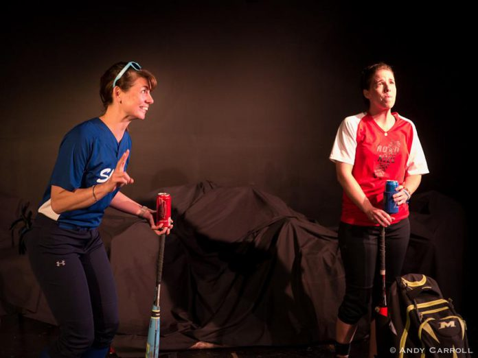 "In Frank Flynn's ""Chemistry"", three different couples replay a scene where they profess their love. Ange Sorenson and Lindsay Unterlander perform the scene as a same-sex couple. (Photo: Andy Carroll)"