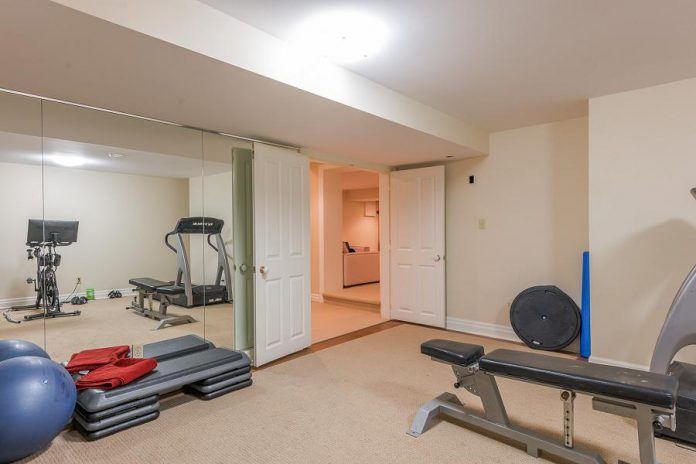 An exercise room, with a treadmill (also included), allows you to complete a workout from the comfort of your home.