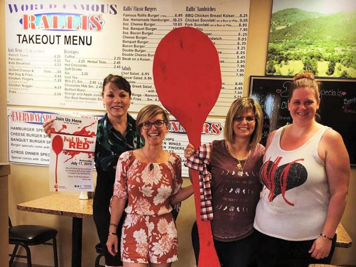 Rallis Burger Family Restaurant in Bridgenorth in another restaurant participating for the first time in the 2019 Paint The Town Red fundraiser for the United Way on Wednesday, July 17th. In all, 35 restaurants, cafes, and pubs will be donating 25 per cent of their net sales to the United Way on Wednesday.  (Photo courtesy of United Way of Peterborough and District)