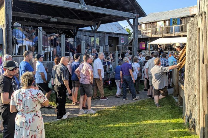 "The audience gathers for the opening night performance of Beau Dixon's ""Bloom: A Rock 'n' Roll Fable"" at 4th Line Theatre in Millbrook on July 4, 2019. Video and photographs during the performance are prohibited. (Photo: Bruce Head / kawarthaNOW.com)"