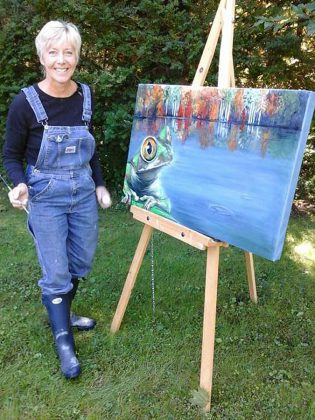 Peterborough painter Cynthia Fox with her easel. (Photo courtesy of the artist)