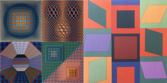 'Vancouver Portfolio' (1981, Serigraph, 30cm x 30cm) and 'Koround' (1966, Serigraph, 69.1cm x 65.2cm) by Victor Vasarely. (Photos courtesy of the Art Gallery of Northumberland)