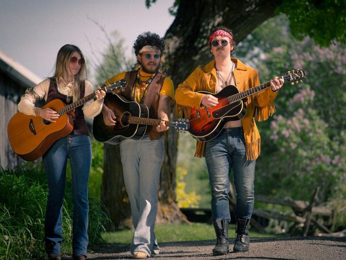 """Musicians Kate Suhr, Griffin Clark, and Owen Stahn, who are currently starring in Beau Dixon's """"Bloom: A Rock 'n' Roll Fable"""" at 4th Line Theatre, will be performing their own music at 4th Line's Midsummer Night's Music concert at St. Thomas's Anglican Church in Millbrook on July 20, 2019. The line-up also includes fellow performers and musicians Justin Hiscox, Mark Hiscox, and Geoff Hewitson, as well as Melissa Payne, who will be making her 4th Line Theatre debut in """"Carmel"""" in August. (Photo: Wayne Eardley / Brookside Studio)."""