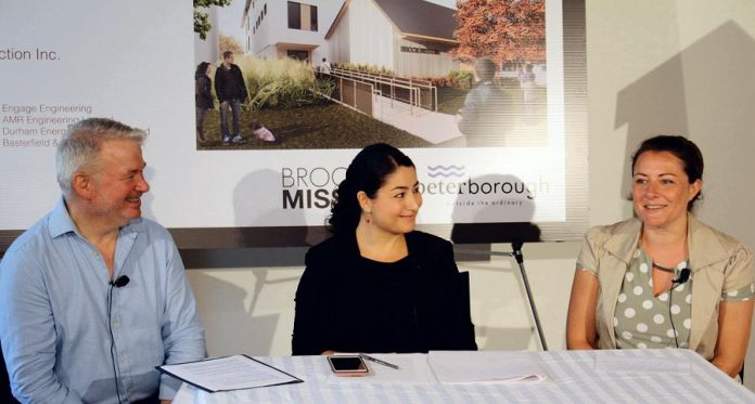 Brock Mission executive director Bill McNabb, Peterborough-Kawartha MP Maryam Monsef, and City of Peterborough Mayor Diane Therrien at the announcement on July 11, 2019 of $5.2 million in federal funding for the new Brock Mission. (Photo: Office of Maryam Monsef)