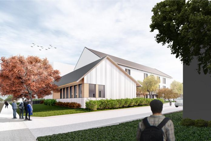 The new Brock Mission, which will include 30 shelter beds and 15 affordable housing units for homeless and at-risk men, will cost around $6.3 million to build. (Rendering: Lett Architects Inc.)