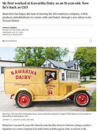 A screenshot of the profile of Kawartha Dairy CEO and general manager Brian Kerr in the Globe and Mail.