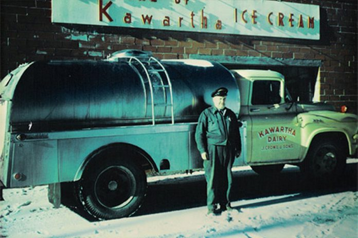 Kawartha Dairy was founded in 1937 in Bobcaygeon by Jack and Ila Crowe. Pictured is Jack Crowe with a Kawartha Dairy tanker. The dairy's products, especially its ice cream, have become a staple of cottage country in central Ontario. (Photo: Kawartha Dairy)