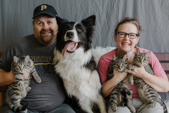 Tracey Ormond, organizer of the Remembering Romeo fundraiser, with husband Mike, their three cats, and border collie Finn. Local photographer Heather Doughty donated her time and equipment to take the portraits of people with their pets. (Photo: Heather Doughty)