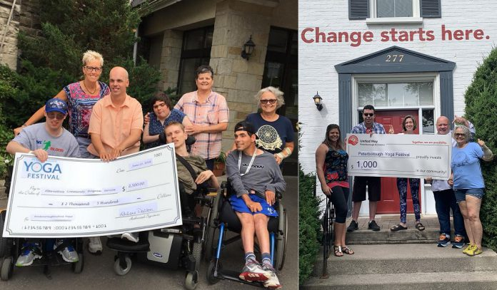 The Peterborough Yoga Festival has donated $2,500 to Alternatives Community Program Services Peterborough and $1,000 to the United Way Peterborough & District. (Photos: Peterborough Yoga Festival / Facebook)