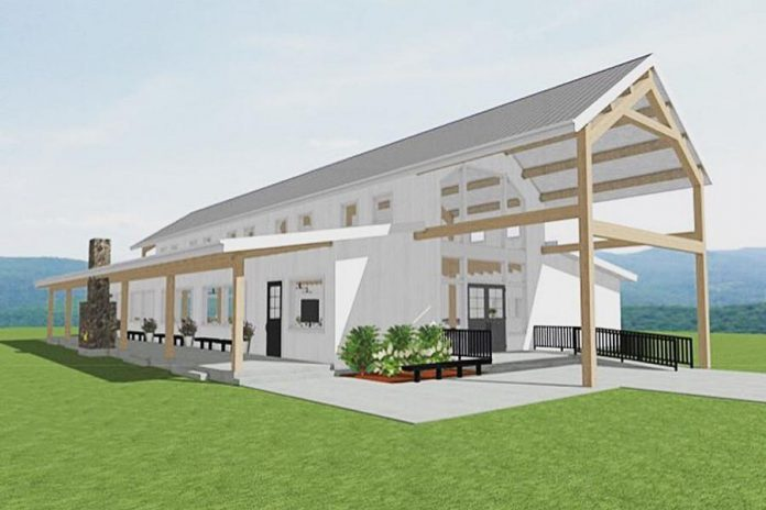 A rendering of the new Farmhill Weddings venue in Keene. (Graphic courtesy of  Farmhill Weddings)