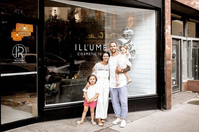 Illume Room owner and operator  Emma Pineo with her family. The cosmetic teeth whitening spa is now open at 414 George Street North in downtown Peterborough. (Photo courtesy of Illume Room)