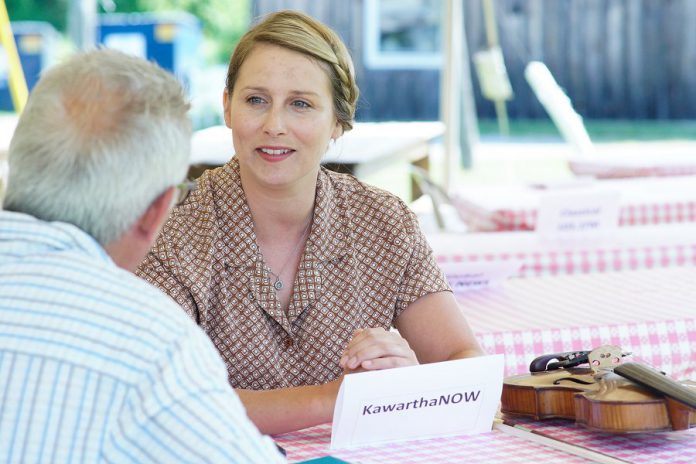 """Ennismore musician Melissa Payne, being interviewed by kawarthaNOW's Paul Rellinger, has her acting debut in the role of Audrey Barstow in """"Carmel"""" at 4th Line Theatre in August. (Photo: Bianca Nucaro / kawarthaNOW.com)"""