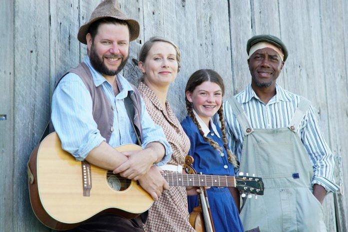 """Jonathan Shatzky, Melissa Payne, Asha Hall-Smith, and Danny Waugh at media day on July 24, 2019 for 4th Line Theatre's August production, the world premiere of """"Carmel"""" by Ian McLachlan and Robert Winslow.  (Photo: Bianca Nucaro / kawarthaNOW.com)"""