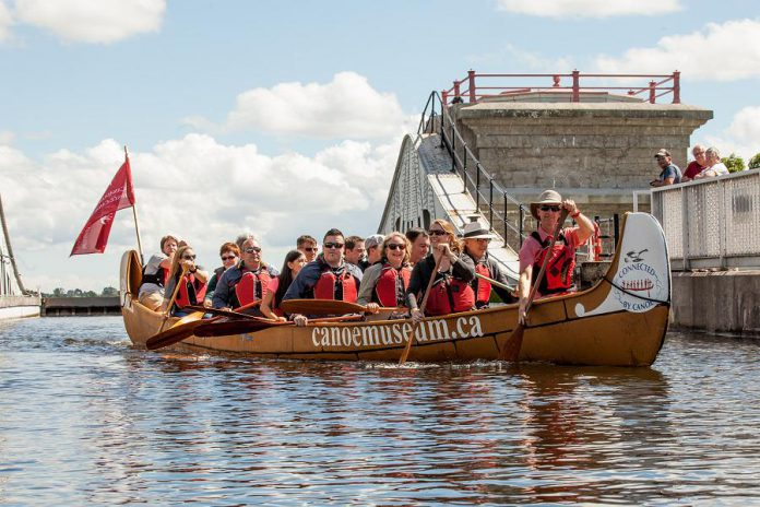 There's lots to do during August at The Canadian Canoe Museum, including the popular Voyageur Canoe Tour, a one-of-a-kind guided tour where you help paddle a 36-foot Montreal canoe along the Trent-Severn Waterway and through the Peterborough Lift Lock. (Photo courtesy of The Canadian Canoe Museum)