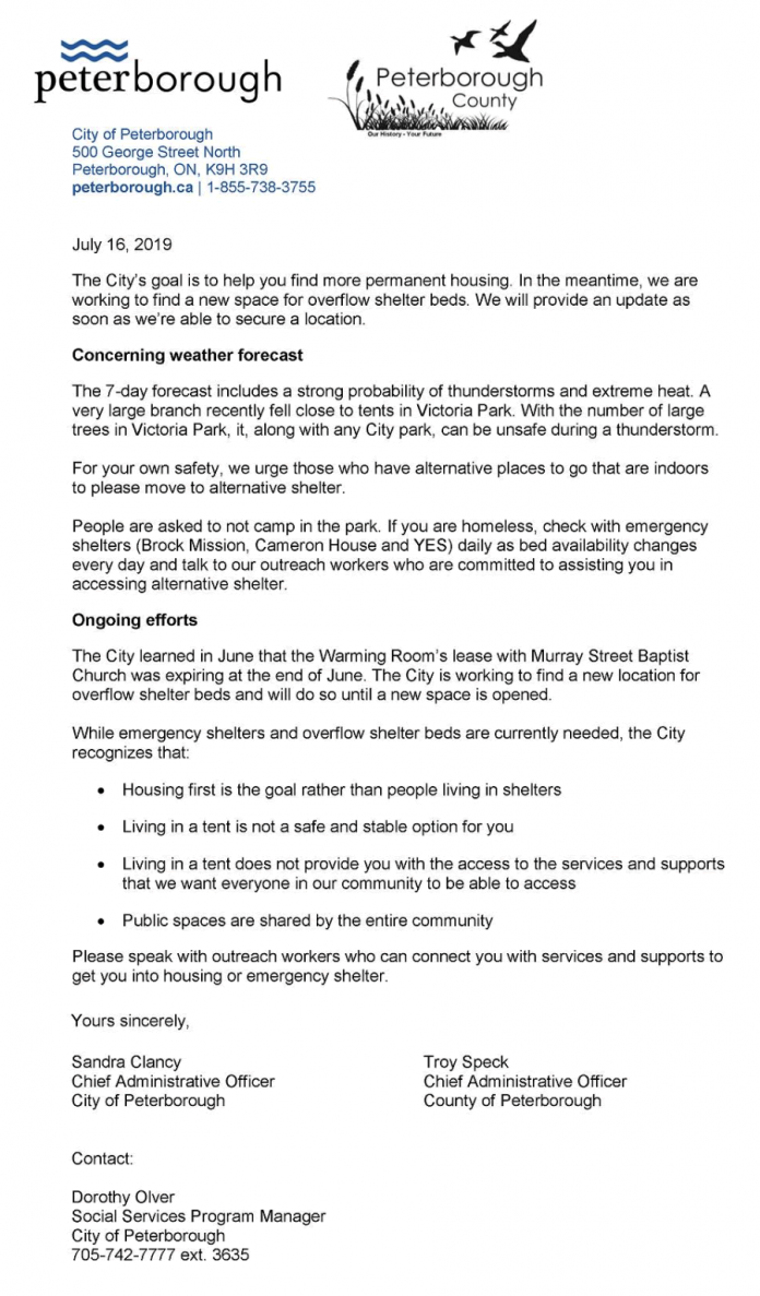 Joint letter from City and County of Peterborough