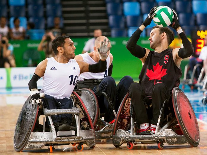 Peterborough wheelchair rugby athlete Cody Caldwell (right) competing in his first Paralympic Games in Rio de Janeiro in Brazil in 2016. Caldwell is one of 12 athletes selected by Wheelchair Rugby Canada and the Canadian Paralympic Committee to represent Canada at the Lima 2019 Parapan American Games in August. (Photo: Wheelchair Rugby Canada)