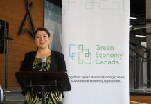 Peterborough-Kawartha MP Maryam Monsef announcing $256,250 in federal funding for three new green economy hubs, including in Peterborough. An initiative of the non-profit organization Green Economy Canada, green economy hubs have already been established in Hamilton and Burlington, Kingston, London, Ottawa, Sudbury, Waterloo Region, and York Region, with 250 businesses collectively reduced 200,000 tons of greenhouse gases to date. (Photo: Office of Maryam Monsef / Facebook)