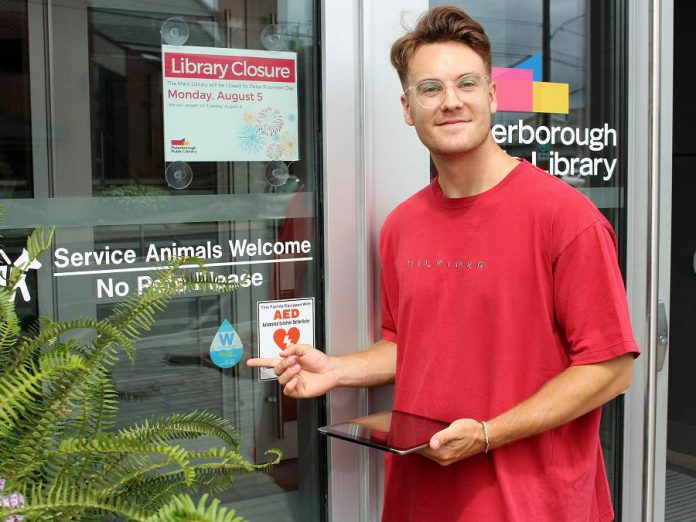 The Peterborough Public Library is one of 78 organizations and businesses in the Kawarthas participating in GreenUP's BlueW program, where you can fill up your reusable water bottle with municipal tap water at no charge. Look for the BlueW sticker, or use the online map at the BlueWPtbo website to find a location where you can fill up. (Photo: Karen Halley)