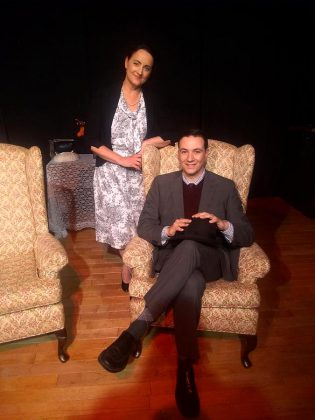 "John Austin starts as dreamer Elwood P. Dowd with Laura Marshall as his exasperated sister Veta Simmons in Lindsay Little Theatre's production of ""Harvey"". (Photo: Sam Tweedle / kawarthaNOW.com)"