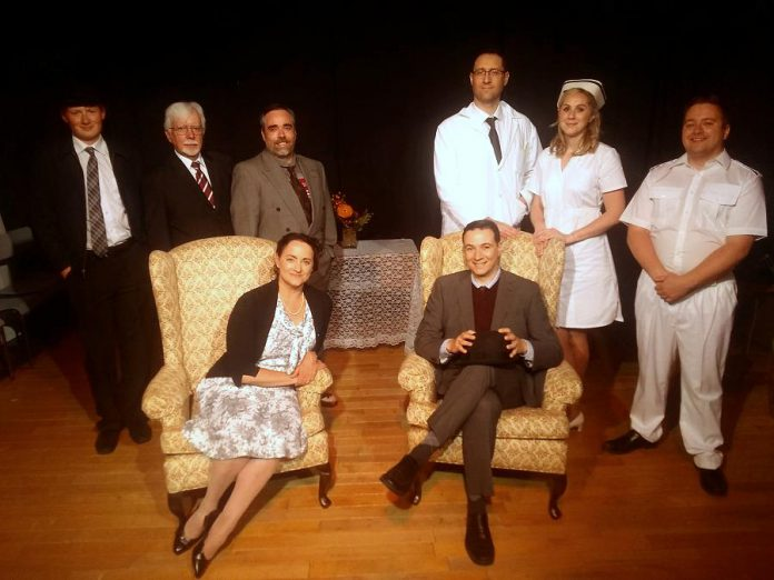 "Members of the cast of the Lindsay Little Theatre production of ""Harvey"", which runs July 5th to 13th: (front to back, left to right): Laura Marshall, John Austin, Jonah Grignon, Bill Fulker, Seamus McCann, Harvey (can YOU see him?), Ian MacLean, Carolyn MacLean, and Ben Whyte. Not pictured: Kelsie McCullough, Logan Gerzymisch, and Heather McCullough. (Photo: Sam Tweedle / kawarthaNOW.com)"