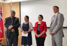 Peterborough Diane Therrien and Peterborough-Kawartha MP Maryam Monsef hosted a meeting at The Mount Community Centre in Peterborough on July 23, 2019 and subsequently released a 10-point plan for a rapid response to the homelessness and housing issue in Peterborough. Peterborough County Warden J. Murray Jones (left) and Peterborough-Kawartha MPP Dave Smith also attended the meeting. (Photo: Office of Maryam Monsef)