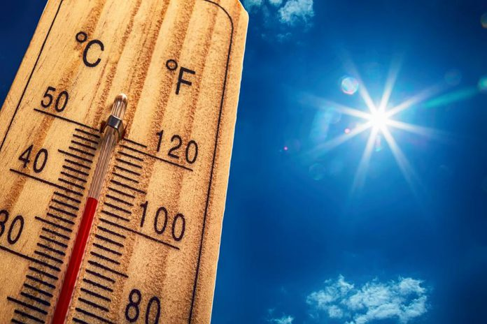 Hot thermometer with bright sun
