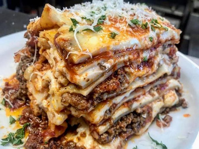 Taso Hatzianastasiou's eight-layer lasagna at Taso's Restaurant and Pizzeria sold out a few hours after this photo was posted on social media. (Photo: Taso's Restaurant and Pizzeria)