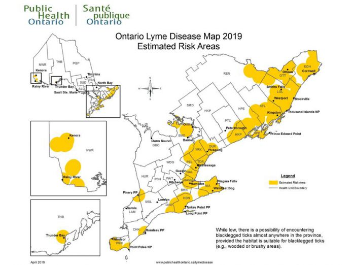 The Ontario Lyme Disease Map Estimated Risk Areas is updated annually, providing information to assist public health professionals and clinicians in their management of Lyme disease. (Map: Public Health Ontario)