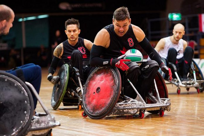 Along with Cody Caldwell, Mike Whitehead (centre) and Trevor Hirschfield (back) are two of the 12 athletes named to the Canadian wheelchair rugby team for the Lima 2019 Parapan Am Games. (Photo: Wheelchair Rugby Canada)